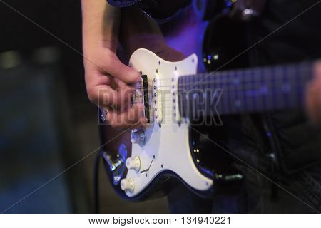 Music Playing Bass Guitar Hobby Performance Guitarist Night Club Concept
