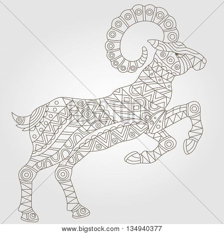 Contour illustration with abstract ram dark outline on a light background