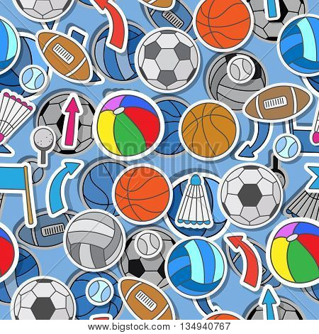 Seamless pattern on the theme of summer sports different sports balls arrows and flags