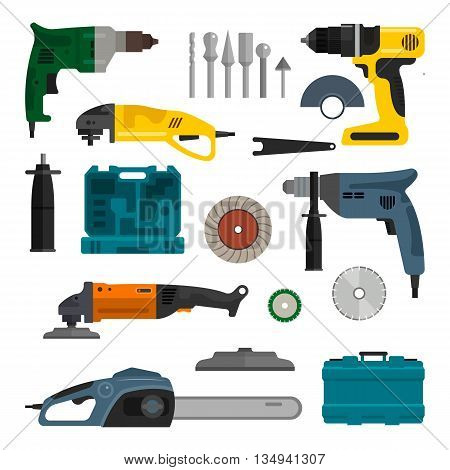 Vector set of power electric tools. Repair and construction working tools. Design elements and icons isolated on white background.