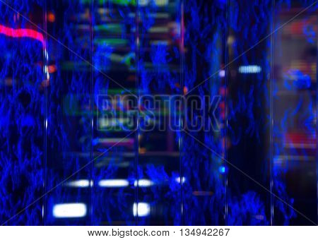 abstract blur blue electric line background at night