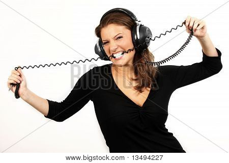 Girl Biting A Wire