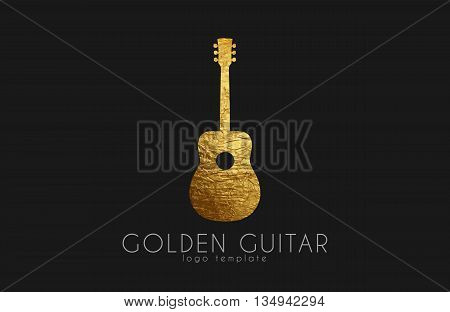 golden gutar logo. music logo. guitar logo design