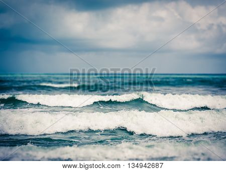 Strong wave in the sea during rainy season