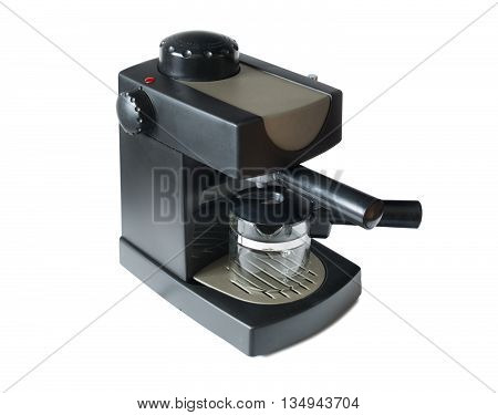 Small and empty black coffee machine isolated on white background