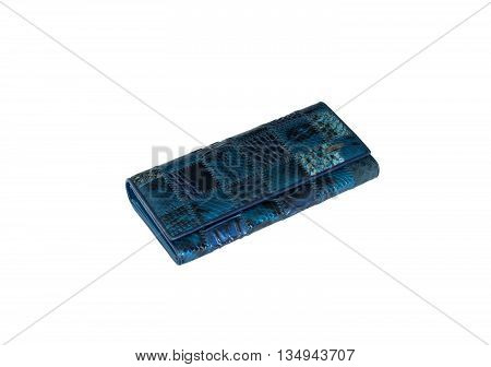Small blue purse for keeping money isolated on white background
