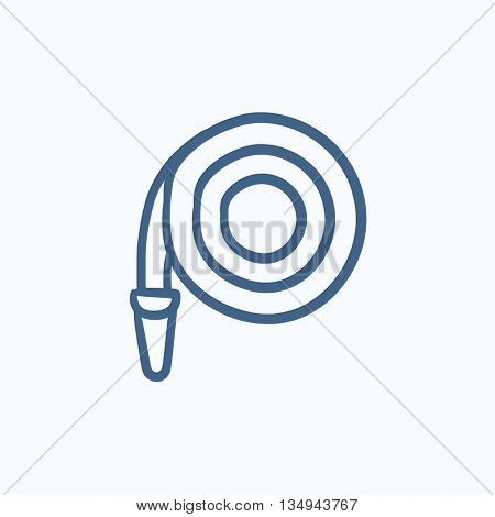 Firefighter hose vector sketch icon isolated on background. Hand drawn Firefighter hose icon. Firefighter hose sketch icon for infographic, website or app.