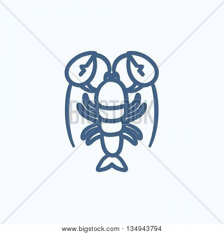 Lobster vector sketch icon isolated on background. Hand drawn Lobster icon. Lobster sketch icon for infographic, website or app.