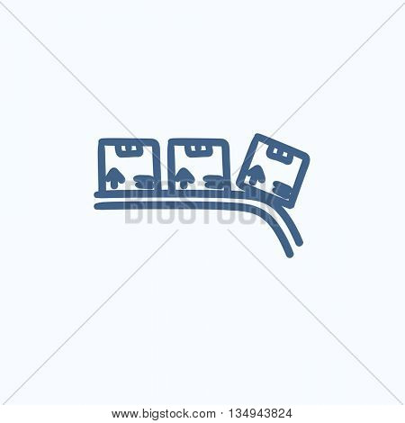 Conveyor belt for parcels vector sketch icon isolated on background. Hand drawn Conveyor belt for parcels icon. Conveyor belt for parcels sketch icon for infographic, website or app.