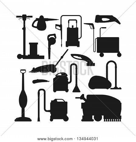 Professional cleaning equipment black silhouette isolated on white background. Vector cleaning equipment tool and service cleaning equipment housework tools. House product chemical washing