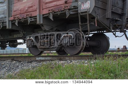 Close up look at the wheels of the train