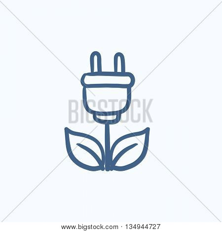 Eco green energy vector sketch icon isolated on background. Hand drawn Eco green energy icon. Eco green energy sketch icon for infographic, website or app.
