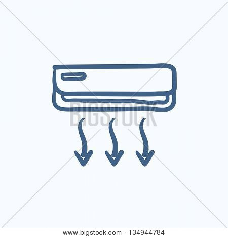 Air conditioner vector sketch icon isolated on background. Hand drawn Air conditioner icon. Air conditioner sketch icon for infographic, website or app.