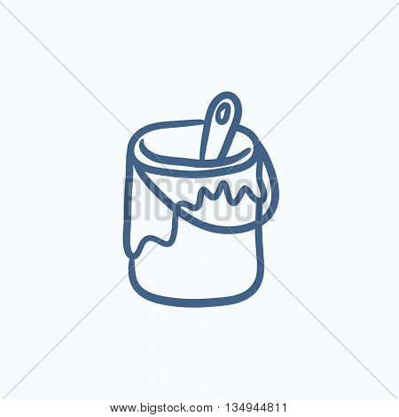 Paint brush in the paint tin vector sketch icon isolated on background. Hand drawn Paint brush in the paint tin icon. Paint brush in the paint tin sketch icon for infographic, website or app.