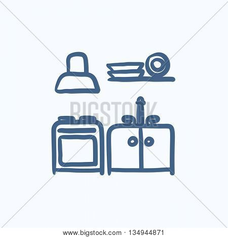 Kitchen interior vector sketch icon isolated on background. Hand drawn Kitchen interior icon. Kitchen interior sketch icon for infographic, website or app.
