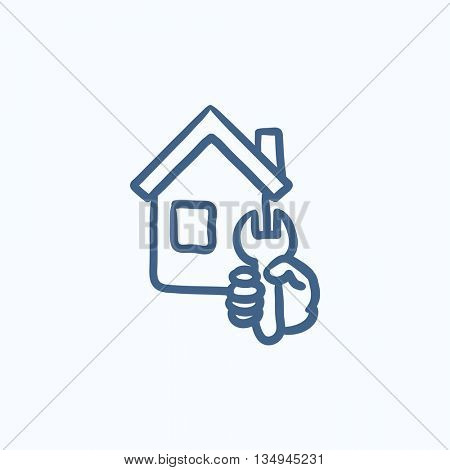 House repair vector sketch icon isolated on background. Hand drawn House repair icon. House repair sketch icon for infographic, website or app.
