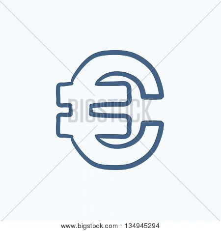 Euro symbol vector sketch icon isolated on background. Hand drawn Euro symbol icon. Euro symbol sketch icon for infographic, website or app.