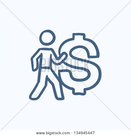 Businessman with big dollar vector sketch icon isolated on background. Hand drawn Businessman with big dollar icon. Businessman with big dollar sketch icon for infographic, website or app.