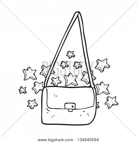 freehand drawn black and white cartoon expensive handbag
