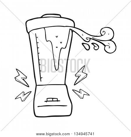 freehand drawn black and white cartoon blender gone crazy