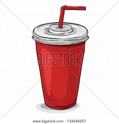 Cola cup. Coca cola color picture sticker. Vector illustration, EPS 10