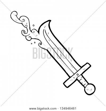 freehand drawn black and white cartoon bloody sword