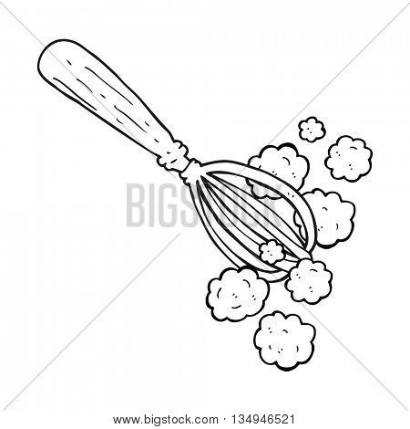 freehand drawn black and white cartoon whisk