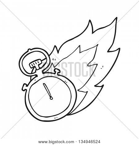 freehand drawn black and white cartoon flaming stop watch