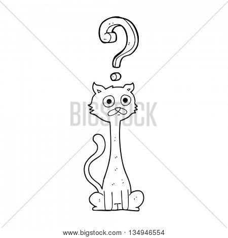 freehand drawn black and white cartoon curious cat