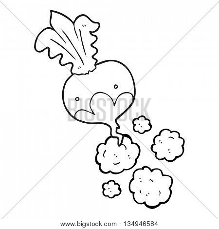 freehand drawn black and white cartoon beet