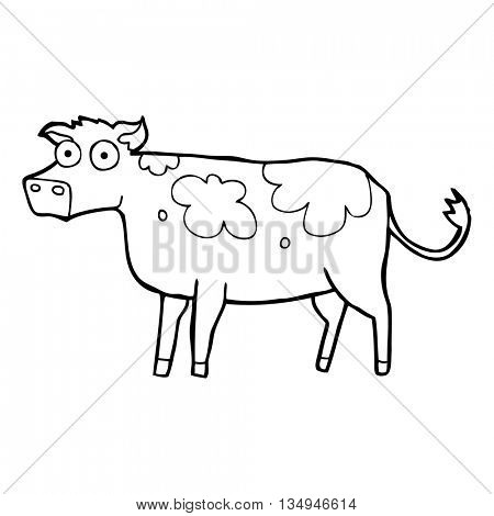 freehand drawn black and white cartoon cow
