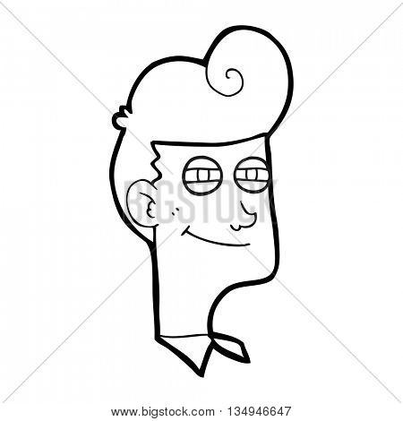 freehand drawn black and white cartoon smiling man