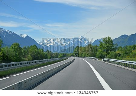 free highway to the bavarian alps zugspitze mountain. Separated traffic lane because of road works