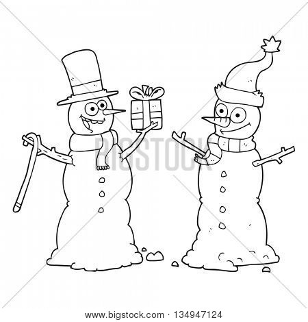 freehand drawn black and white cartoon snowmen exchanging gifts