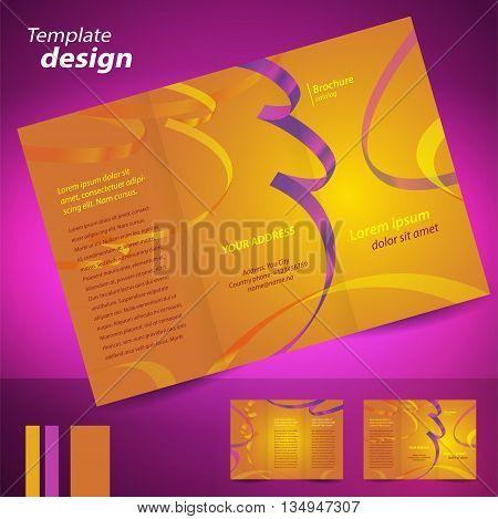 brochure design template vector folder leaflet confetti element color yellow background