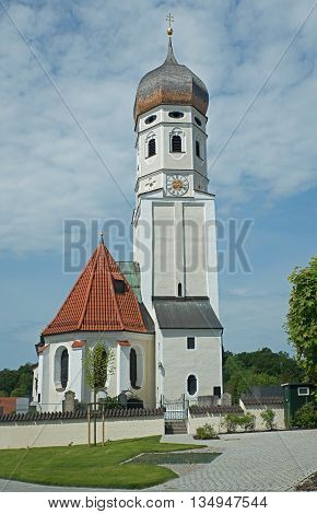 beautiful village church erling, at upper bavaria