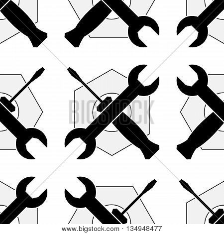 Wrench and screwdriver icon seamless pattern on white background