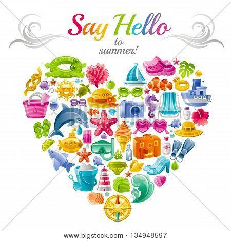 Sea travel flayer design with heart composed of vacation summer symbols.