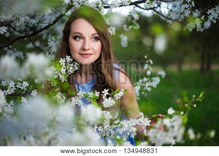 Close Up Portrait Of Beautiful Woman Walking In Summer Garden
