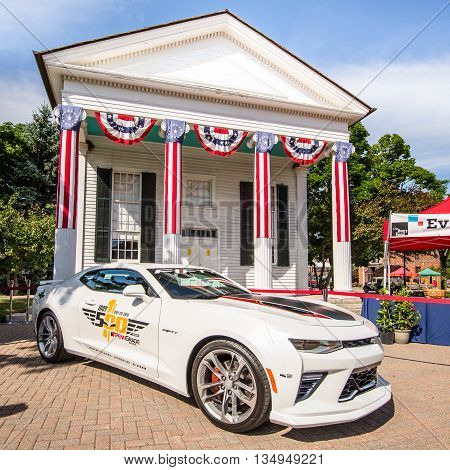 DEARBORN MI/USA - JUNE 18 2016: A 2016 Chevrolet Camaro Indy Pace Car at The Henry Ford (THF) Motor Muster car show, held at Greenfield Village, near Detroit, Michigan.