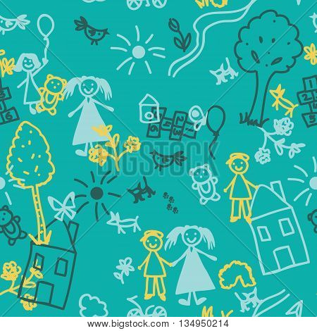 Doodle kids seamless background. Cute drawings by hand