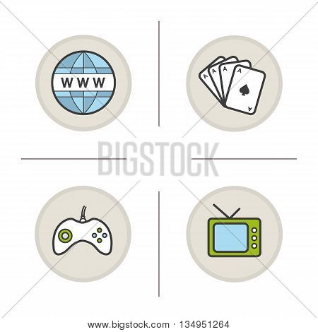 Bad habits color icons set. Internet, cards deck, gamepad and tv. Addictions. Vector isolated illustrations