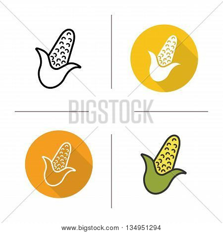 Corn icon. Flat design, linear and color styles. Maize isolated vector illustrations