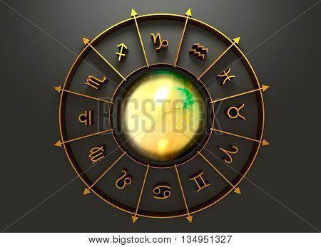 Golden astrological symbol in the circle. Mirror surface sphere in the center of the ring. 3D rendering