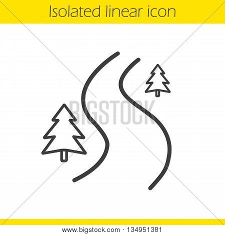 Forest road linear icon. Thin line illustration. Winding country road contour symbol. Vector isolated outline drawing