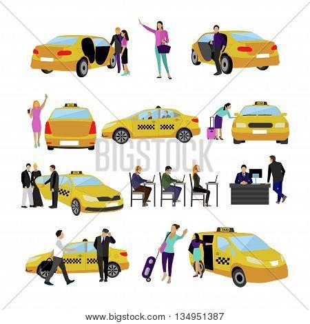 Vector set of Taxi service icons isolated on white background. People using yellow taxi cab. Passengers in taxi car.