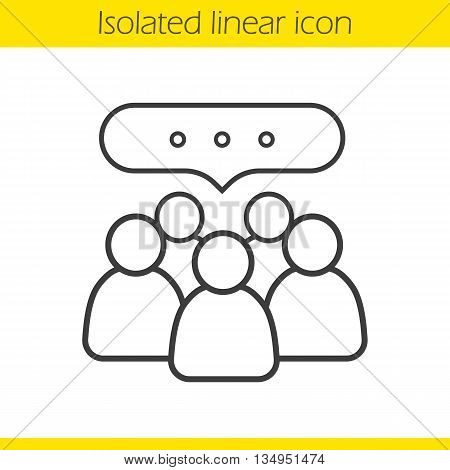 Conference linear icon. Business teamwork. Company discussion thin line illustration. Meeting contour symbol. Vector isolated outline drawing