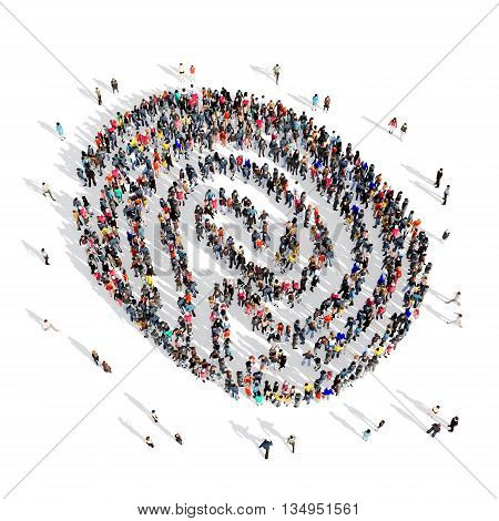 Large and creative group of people gathered together in the shape of a fingerprint . 3d illustration, isolated, white background.