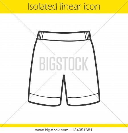 Shorts linear icon. Thin line illustration. Sport shorts contour symbol. Vector isolated outline drawing