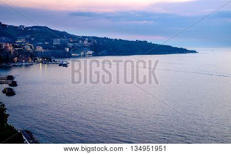 Sorrento sunset panorama Mediterranean sea. Campania Italy